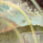 Albert Bierstadt (1830-1902)  Four Rainbows over Niagara Falls  Oil on paper  12 1/2 x 18 1/4 inches (31.75 x 46.36 cm)  Public collection